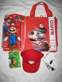 A load of free Mario merchandise!